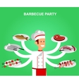 Different kind of meat on the grill vector image