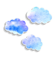 set watercolor clouds isolated on white background vector image