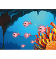 A school of puffer fishes inside the sea cave vector image vector image