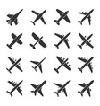 aircraft icon set vector image vector image