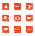 automobile race icons set grunge style vector image vector image