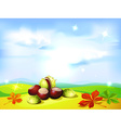 autumn landscape background with chestnuts vector image vector image