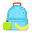 backpack and lunch icon flat style vector image vector image