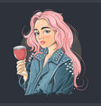 beautiful girl wearing a punk rocker jacket vector image