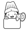 black and white funny cook mascot is holding a vector image vector image