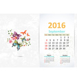 Calendar for 2016 September vector image vector image
