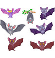 cartoon bats collection set vector image vector image