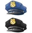 Cartoon police hat with golden badge set vector image