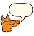 cartoon smug fox face with speech bubble vector image vector image