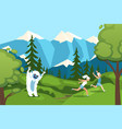 character man woman running away from bigfoot vector image