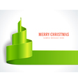 Christmas tree green from ribbon background vector image vector image