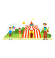 clown entertains children around circus vector image