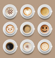 coffee cups cappuccino latte americano top view vector image vector image