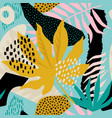 collage contemporary floral hawaiian pattern in vector image