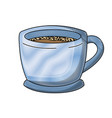 cup of coffee with handle colored crayon vector image vector image