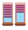 curtains on wooden windows isolated icons blinds vector image vector image