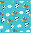 cute baby panda bears seamless pattern vector image vector image