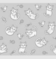cute cartoon cat seamless pattern on light vector image vector image