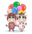 cute cartoon couple cow and bull with balloons vector image vector image