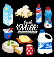 dairy products set flat style including cup vector image
