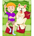Dog and boy sleeping on the bed vector image