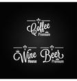 drinks set labels design background vector image vector image