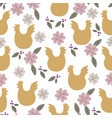 easter seamless pattern with chicken silhouette vector image vector image