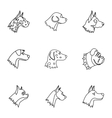 Faithful friend dog icons set outline style vector image vector image