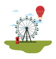 ferris wheel hot air balloon in the park amusement vector image vector image