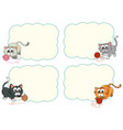 four frames with cute kittens vector image vector image