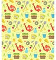 Gardening seamless pattern with garden tools vector image vector image