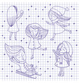 girls and snowflakes on notebook sheet vector image vector image
