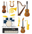 guitar and drums violin lyre music instruments vector image vector image