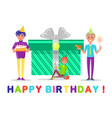happy birthday celebration of holiday present vector image