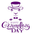 happy groundhog day marmot silhouette lettering vector image vector image