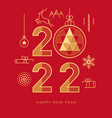 happy new year 2022 abstract geometry golden icons vector image