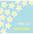 Hello summer Greeting card Plumeria Tropical vector image vector image