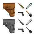 holster cartridge air bomb pistol military and vector image vector image