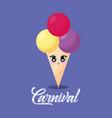 kawaii ice cream vector image vector image