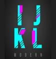 letter font modern design set of letters i j k vector image