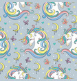 magic seamless pattern with unicorn rainbow vector image