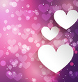 paper hearts background with bokeh effect vector image vector image