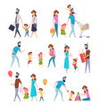 parents with kids school kids with father and vector image vector image