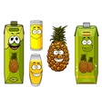 Pineapple fruit and juices vector image vector image