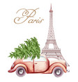 red car with christmas tree on top passing the vector image vector image