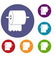 roll of toilet paper on holder icons set vector image vector image