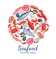 round template seafood page design vector image vector image