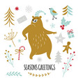 season greetings dancing bear set vector image vector image