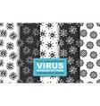 set cartoon seamless patterns with virus vector image