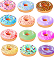 set colored donuts with icing vector image vector image